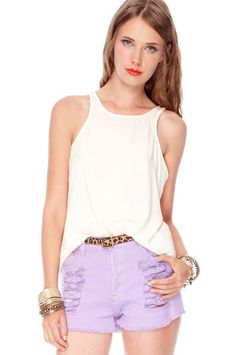 Button Racerback Tank Top in Ivory $28 at www.tobi.com