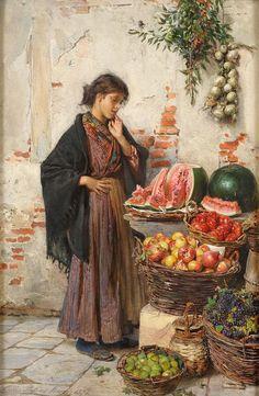 Passini, Ludwig Johann 1832 Wien - 1903 Venedig La bella venditora di frutta. Signiert. Datiert Ve