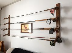 Wood fly rod rack display, holder, wall