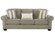 A touch of simple elegance goes a long way with this beautifully crafted sofa. Upholstered in a clean chenille fabric, we love its comfortable style. The foam cushions are certainly the tops with softness and endurance built in. Rest an arm on a padded armrest, sit back and relax. Three accent pillows, two with vertical stripes and one with a light welcoming pattern are included to jazz up the look.