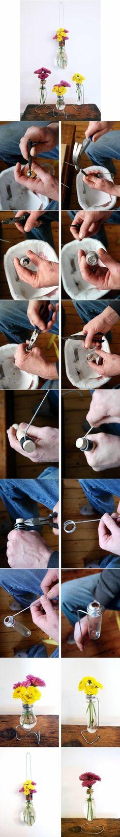 comment transformer une ampoule en verre en vase soliflore