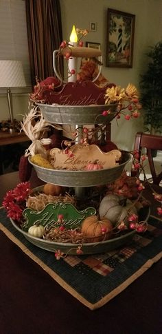 Harvest Decorations, Thanksgiving Decorations, Seasonal Decor, Fall Decor, Christmas Decorations, Galvanized Tiered Tray, Christmas Centerpieces, Centerpiece Ideas, Autumn Decorating