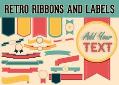 Retro Ribbons Labels Clipart Elements  Blank Digital Download Transparent Background by graficaitalia