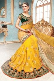 Georgette and Net Designer Saree In Yellow Colour