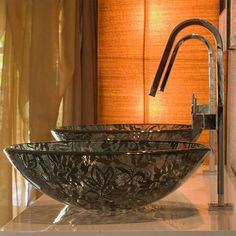 black lace glass basin