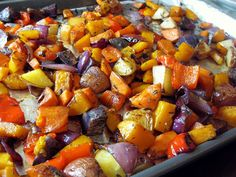 a hint of honey: Herb Roasted Vegetables 1 small red onion, chopped 1-2 red bell peppers, seeded and deveined and chopped 1 small sweet potato, peeled and cubed 1 small butternut squash, peeled, seeded, and cubed several small Yukon gold potatoes, cubed (I used a mix of gold, red, and purple potatoes) 1 Tbsp. fresh thyme, chopped 2 Tbsp. fresh rosemary, chopped 1 Tbsp. balsamic vinegar (or freshly squeezed lemon juice) 2 Tbsp. extra virgin olive oil kosher salt and freshly ground black…