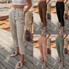 US Womens Trousers Casual Loose High Waist Stretchy Solid Skinny Slim Long Pants Linen Pants Outfit, Boho Pants, Trousers Women, Pants For Women, Boho Fashion, Fashion Outfits, Wide Leg Linen Pants, Casual Looks, Clothes