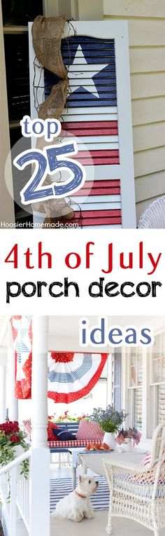 Top 25 of July Porch Decor Ideas is part of Holiday crafts Of July - There are so many great of July decorations Try a few of these ones! Patriotic Party, Patriotic Crafts, July Crafts, Summer Crafts, Holiday Crafts, Holiday Fun, Americana Crafts, Holiday Ideas, Patriotic Shirts