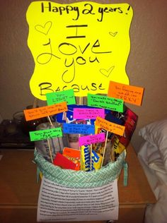 This is so cute! Gift box of why u love him or her for 2yrs anniversary filled with stuff!!!