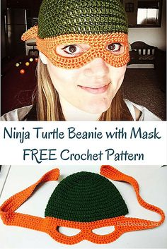 Crochet Beanie Ninja Turtle Child's Beanie with Mask FREE Crochet Pattern - Do you have a Ninja Turtle lover in da house? Whip them up a beanie with mask with our free crochet pattern! Easy and quick and sure to please. Crochet Kids Hats, Crochet Beanie, Crochet Gifts, Crochet Clothes, Crochet Toys, Crochet Baby, Love Crochet, Knit Crochet, Crocheted Hats