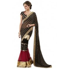 BOLLYWOOD BLACK AND MAROON PARTY WEAR SAREE WITH BLOUSE  Shop this now - http://www.valehri.com/bollywood-black-and-maroon-party-wear-saree-with-blouse