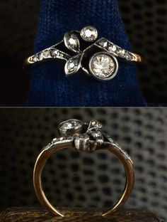 1890s Art Nouveau Diamond Ring, Approximately 0.35ctw European and Rose Cut Diamonds, Silver, 14K Yellow Gold from Erie Basin