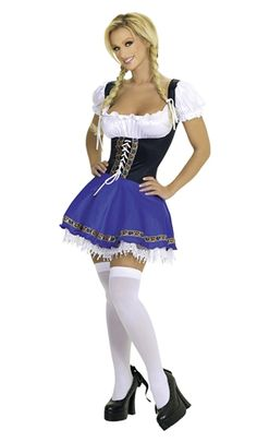 Sexy Roma Blue Black White German Beer Girl Barmaid Heidi-Ho Swiss Miss Serving Wench Costume