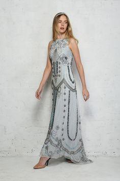 Light Blue Beaded Maxi Dress