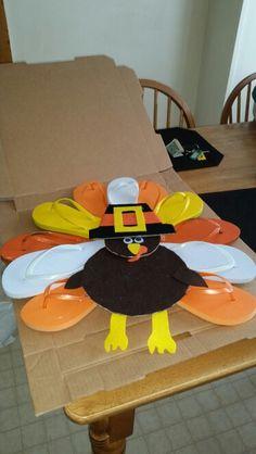 Turkey flip flop wreath