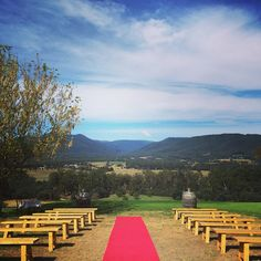Riverstone estate, outside ceremony option with red carpet. Lovely!