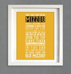 Missouri  Fight Song 8x10 Chevron Print Instant by LoubeeDesigns, $8.75 etsy.com