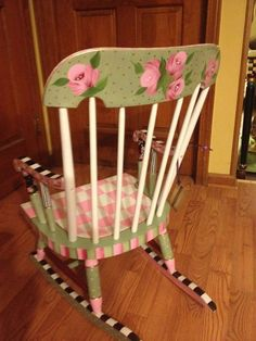 Wonderfully painted Rocking Chair that was made for the Brandon Artists Guild fundraiser in 2005. Description from pinterest.com. I searched for this on bing.com/images