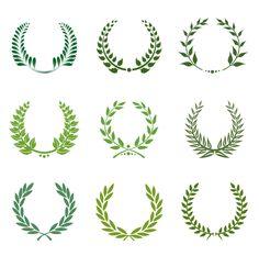 勝利の象徴を表す月桂冠 Green laurel wreath set