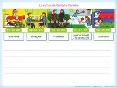 Me encanta escribir en español: La rutina de Jacinto, Cristina, Carlos y Carlota