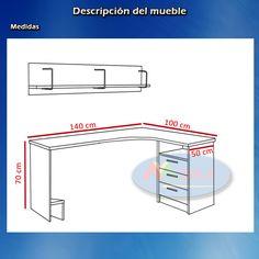 Como hacer un escritorio juvenil planos con medidas para hacer escritorio de madera mdf y - Medidas mesa oficina ...