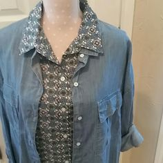 Loft button down blouse Perfect layering piece!  So many options!  With khaki, chambray, white. For a pop of color under a sweater.  The list is endless!  52% cotton/48% rayon - soft and smooth LOFT Tops Button Down Shirts