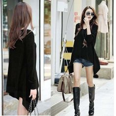 Chic Womens Ladies Loose long Sleeve Asymmetrical blouse t-shirt SIZE XL N425-C
