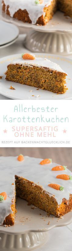 A juicy carrot cake (Rüblikuchen) simply belongs to Easter. This delicious carrot cake without flour loves the whole family! A juicy carrot cake (Rüblikuchen) simply belongs to Easter. This delicious carrot cake without flour loves the whole family! Bolo Vegan, Cake Vegan, Baking Recipes, Cake Recipes, Dessert Recipes, Easter Recipes, Food Cakes, Baking Cakes, Cakes Originales