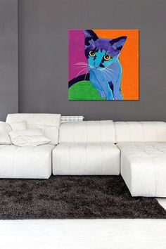 Kitten Blue by DawgArt Canvas Print