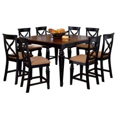 Hillsdale Furniture Northern Heights Black and Brown Wood 9-piece Counter-height Dining Set (Northern Heights 9PC Counter Height Dining Set), Size 9-Piece Sets