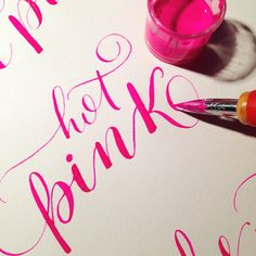 Hot Pink! #calligraphy #pointedpen #moderncalligraphy  #hotpink