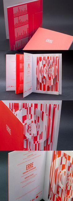 """INVITATION POP-UP - ERRE, VARIATIONS LABYRINTHIQUES - CENTRE POMPIDOU-METZ Carte d'invitation pop-up pour l'expostion """"ERRE, Variations Labyrinthiques"""" au Centre Pompidou-Metz.  Impression 1 ton Pantone (805C)  Conception graphique : Gérard Lo Monaco, Katie Fechtmann et Marie Sourd Ingénierie papier : Bernard Duisit Impression : Tien Wah Press Design Typography, Design Logo, Design Poster, Book Design, Print Design, Graphic Design, Invitation Pop Up, Carton Invitation, Invitations"""