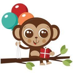 Birthday Monkey SVG cut file birthday svg files birthday svg cutting files free svg cuts
