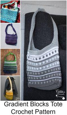 Gradient Blocks Tote Crochet Pattern $4.95 #Tote #crochet #Bag #handmade #DIY #CraftingFriendsDesigns #stripes #Gradient