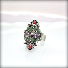 Retro ring green jewelry vintage ooak by AndreaBacmanJewelry, $44.00