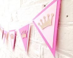 Pink and gold glitter crown bunting, Royal princess baby shower bunting, Princess birthday party decorations, Princess bedroom Princess Birthday Party Decorations, Birthday Bunting, First Birthday Parties, Pink Birthday, Birthday Ideas, Baby Shower Bunting, Shower Banners, Creation Deco, Baby Shower Princess