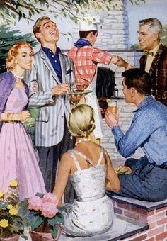 The vintage neighborhood barbecue 50s fashion style men women ladies color illustration print ad magazine pink dress full skirt lavender sweater white sundress wiggle sheath men's jacket shirt pant trouser