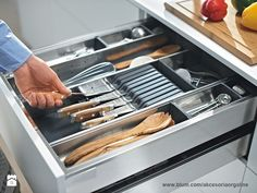 Orga-line Utensil Divider Kitchen Junk Drawer Organizer, Junk Drawer Organizing, Kitchen Drawers, Kitchen Organization, Organization Ideas, Drawer Dividers, Drawer Organisers, Tandem, Cooking Equipment