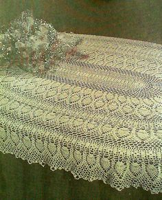 Vintage Crocheted Oval Pineapple Tablecloth By MAMASPATTERNS