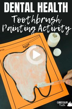 Hygiene and Healthy Habits for Preschool and Kindergarten. Brush your teeth. Painting with a toothbrush art activity for dental health month. #health #takecareofyourself