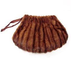 Vintage Mink Fur Muff / Purse Handbag / 1940's...