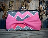 Pink and Gray Chevron Clutch With Bow