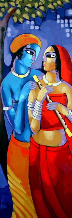 Buy Romantic Couple painting online - the original artwork by artist Sekhar Roy, exclusively available at Mojarto only. Check price, images and description online. Krishna Painting, Krishna Art, Radhe Krishna, Lord Krishna, Madhubani Art, Madhubani Painting, Indian Folk Art, Indian Artist, Traditional Paintings