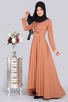 ** YENİ ÜRÜN ** Çiçek Payetli Tesettür Elbise Koyu Somon Ürün Kodu: MDH6510 --> 139.90 TL