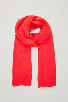 Front image of Cos pleated wool scarf in red