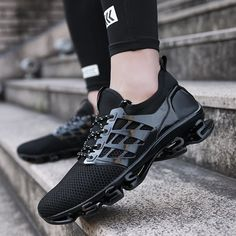 Sneakers men Large size 2020 Spring/Autumn Breathable Running Shoes Tank bottom Sports shoes for male Blade Mans footwear, Zapatos de hombre Trail Running Shoes, Running Shoes For Men, Suede Shoes, Men's Shoes, Oxfords, All Black Sneakers, Men Sneakers, Sports Shoes, Boat Shoes