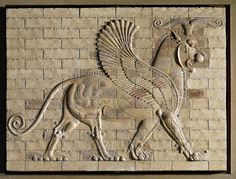 Winged griffin,coloured glazed tiles, from the palace in Susa,Iran. 6th-4th BCE,Achaemenid period.