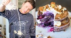 Looking for a New Year's breakfast that's special but won't put you in a food coma? Try Jamie Oliver's healthy blueberry smoothie pancakes.
