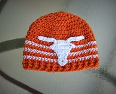 Crochet University of Texas Longhorns Beanie/Hat Sizes 0-3 Months up to Adults *You Pick Colors and Size* Longhorns for the Whole Family!!!