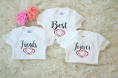 Best Friends Forever Triplet Onesies //Triplet Baby Onesie // Funny Baby shirt // Funny Triplet Baby Onesie // Triplet Onesie Set